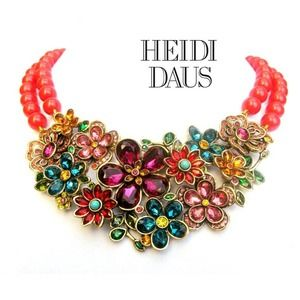 Heidi Daus Flower Show Necklace Coral Bead Crystal